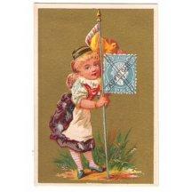Kartička- dívenka s rakouskou vlajkou a známkou 10 Kr