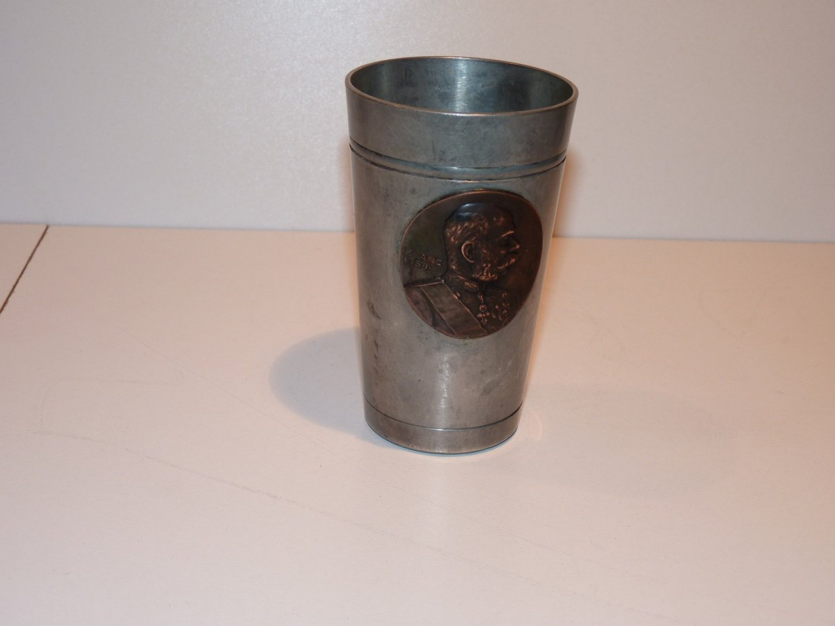 Tinny cup with bronze portrait of Franz Joseph I.