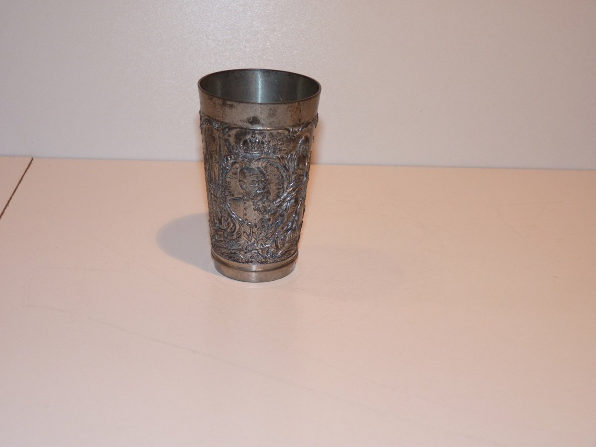 Tinny cup with portrait of Franz Joseph and austrians countrys symbols
