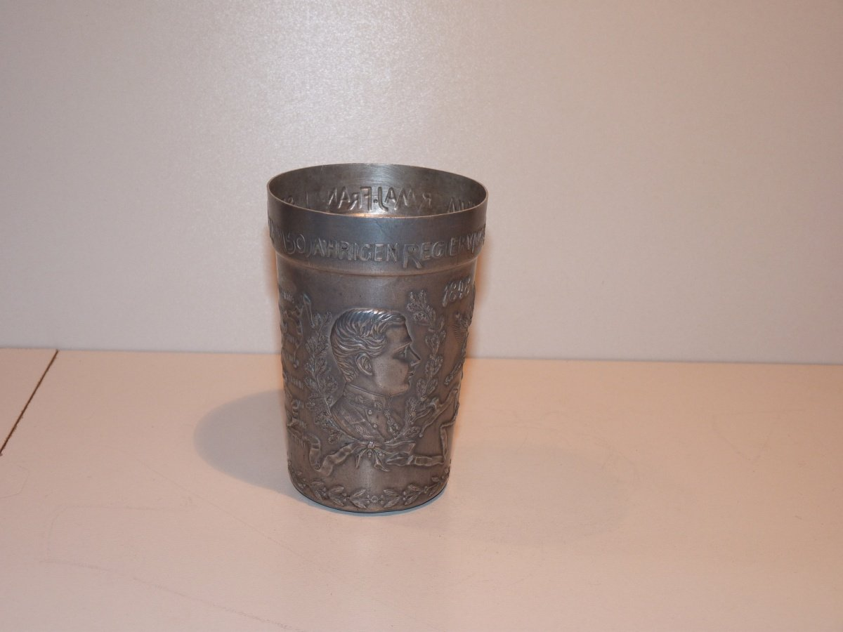Tinny cup with portrait of Franz Joseph