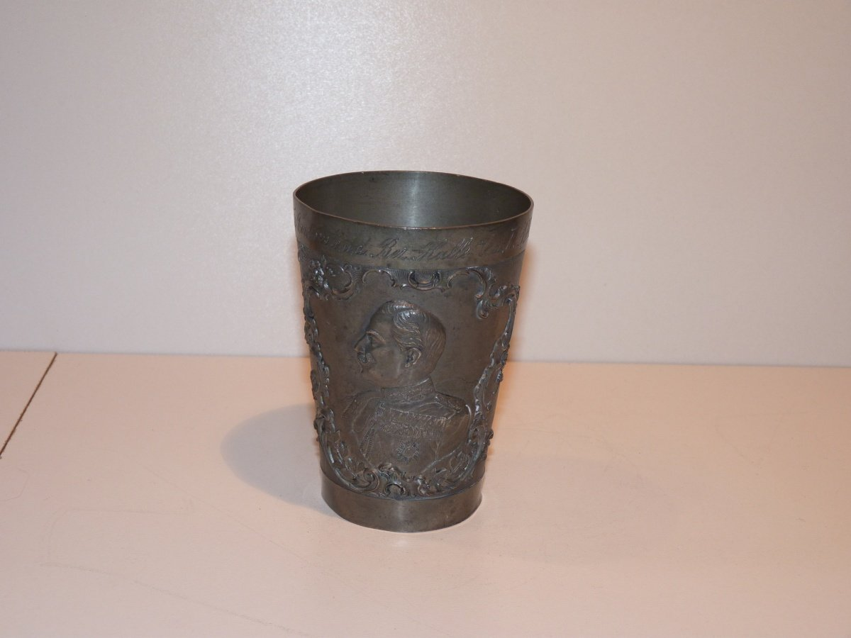 Tinny cup with portrait of emperor Wilhelm and empire crown