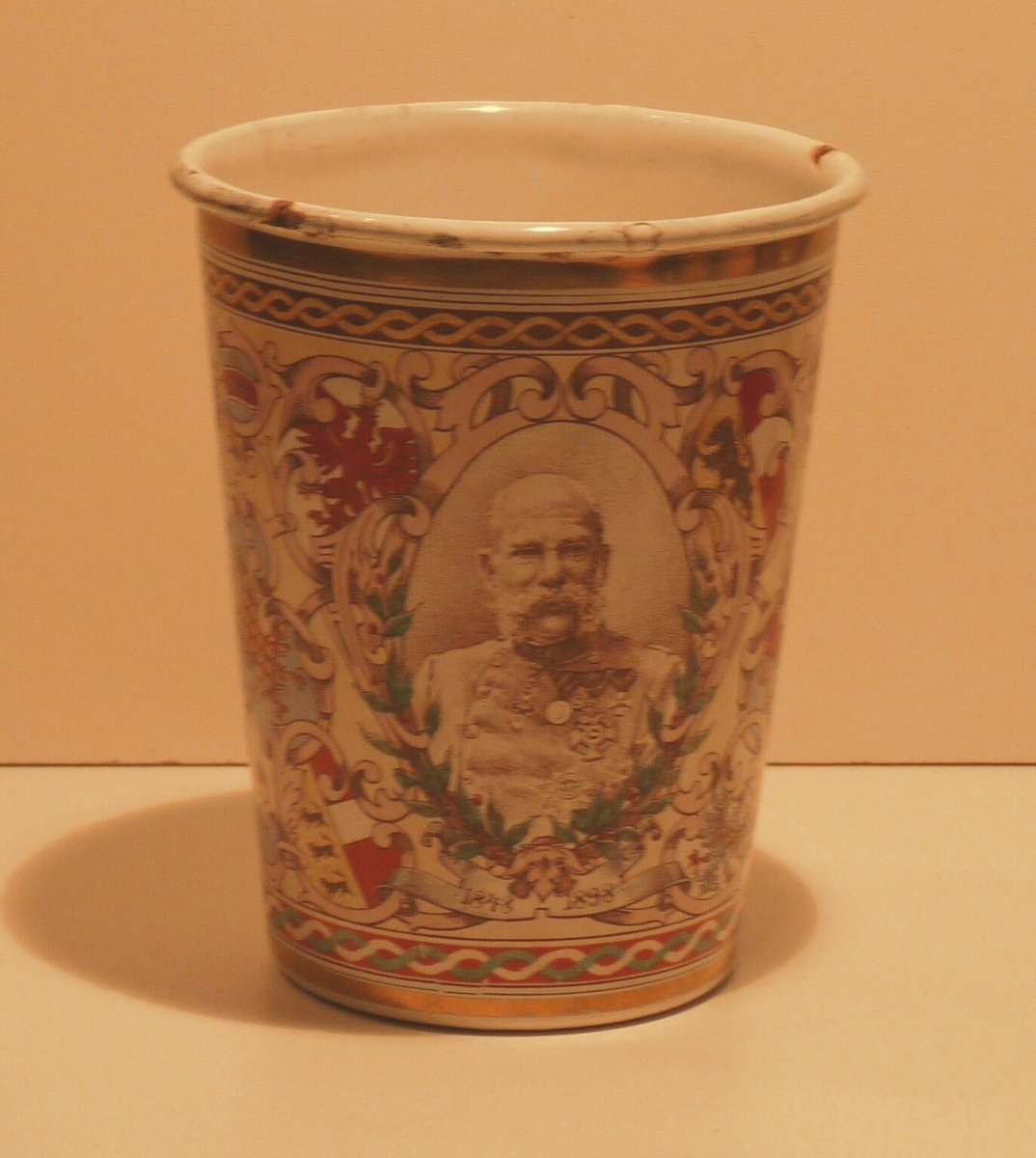 Cup with portrait of Franz Josef in military uniform with many crests