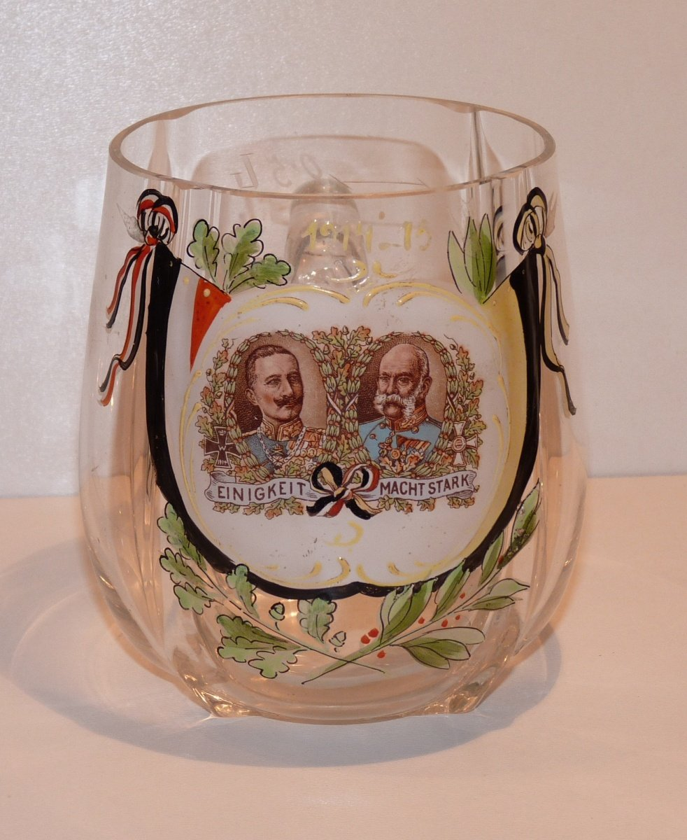 Glass pint with portraits of Franz Joseph and Wilhelm , with flags