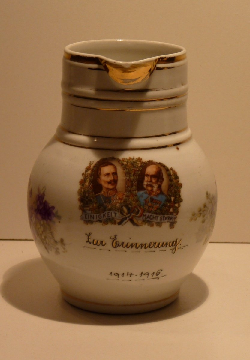 Pitcher with portraits of emperors Wilhelm and Franz Joseph