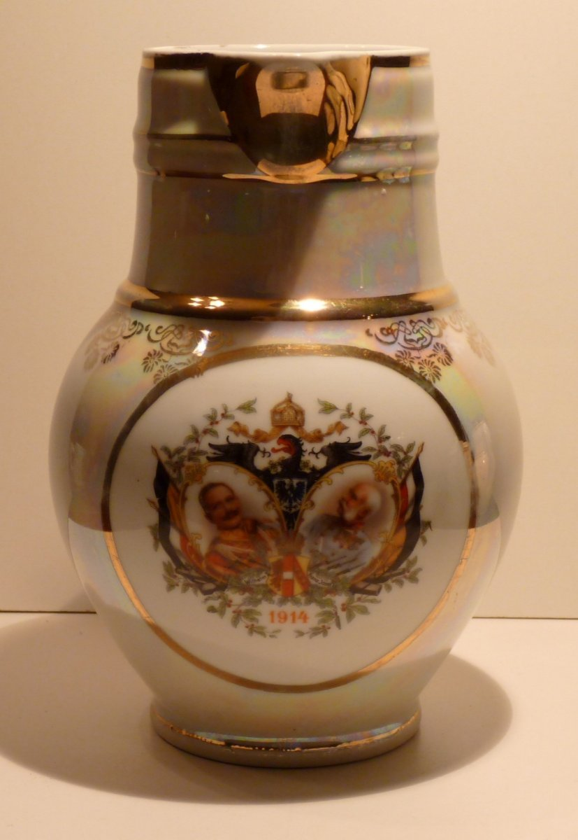 Pitcher with portraits of emperors Wilhelm and Franz Joseph , with eagle