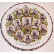Plate with portraits of german military officers 1914