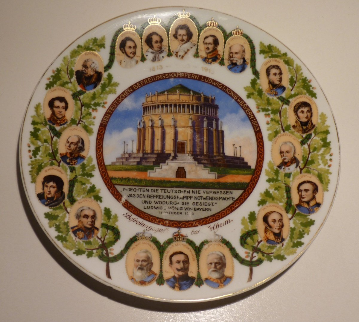 Plate with portraits of monarchs and great men 1813 - 1913