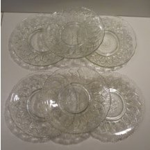 Six glass plates with imperial symbol