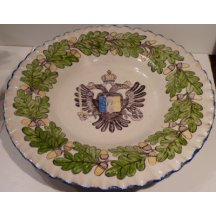 Hand painted plate with sign of Franz Joseph I.