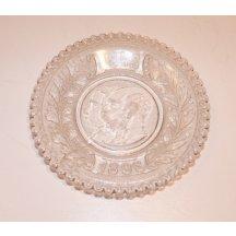 Skleněný talířek k 50. výročí císaře Františka Josefa I. (1848 - 1898)