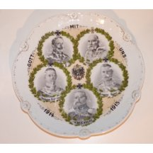 Plate with portraits of Franz Joseph I., Wilhelm II., marshal and crown princes