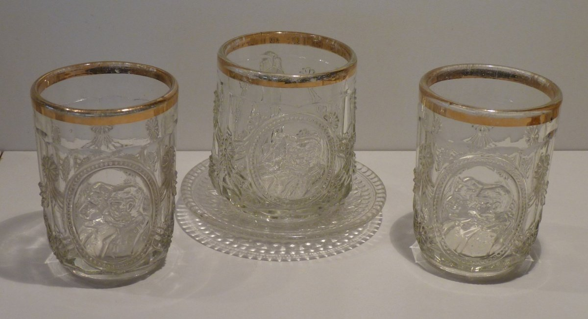 Glass set : Two glasses and cup with portraits of Wilhelm and Franz Joseph