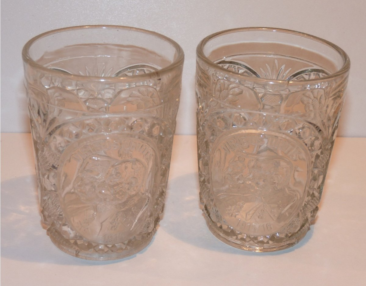Two glasses with portraits of Wilhelm and Franz Joseph in oval frame