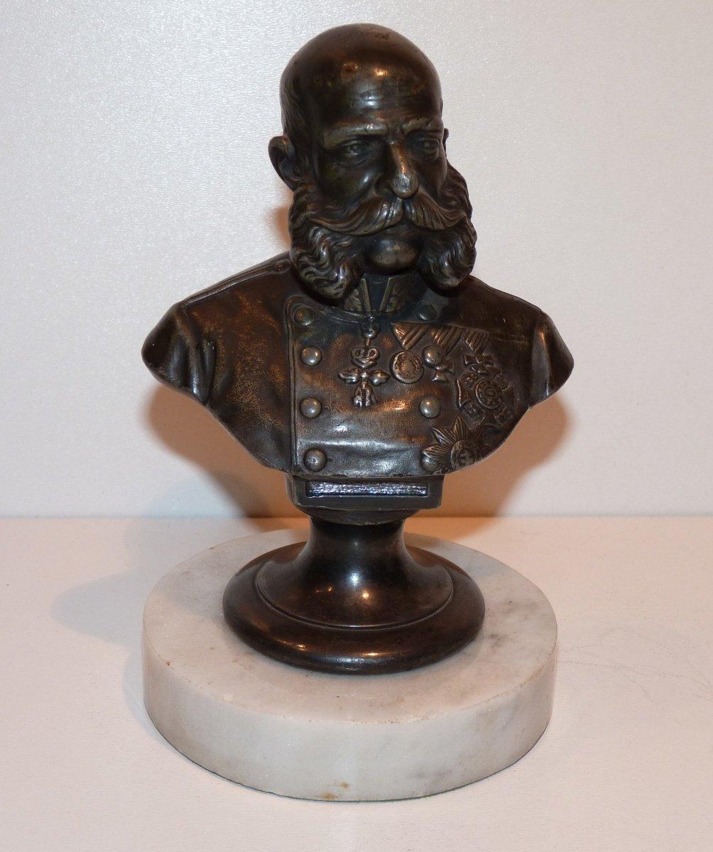 Bust of emperor Franz Joseph in uniform - silvered bronze