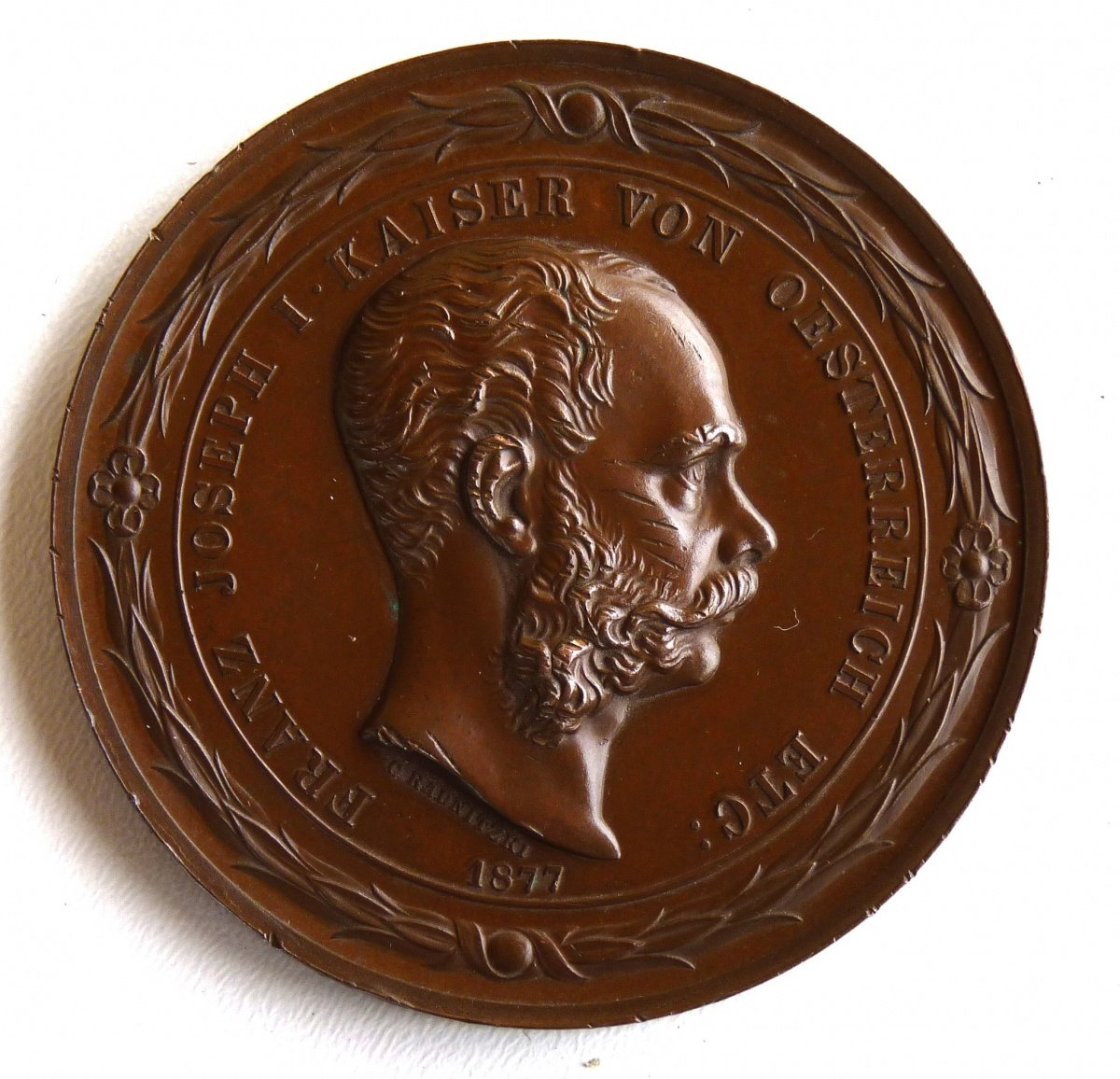 Franz Joseph I. on the medal , Academy in Vienna