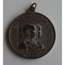 Dvojportrét císaře Franz Josefa a Elisabeth na stříbrné medaili