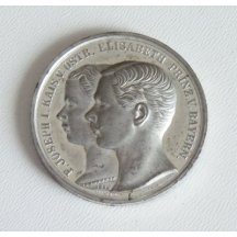 Stříbrná medaile s portréty Elisabeth a Františka Josef