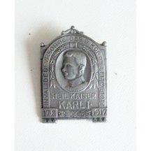 Čepicový odznak s portrétem Franz Josef Karel I.