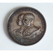 Stříbrná medaile s portréty Elisabeth a Františka Josefa