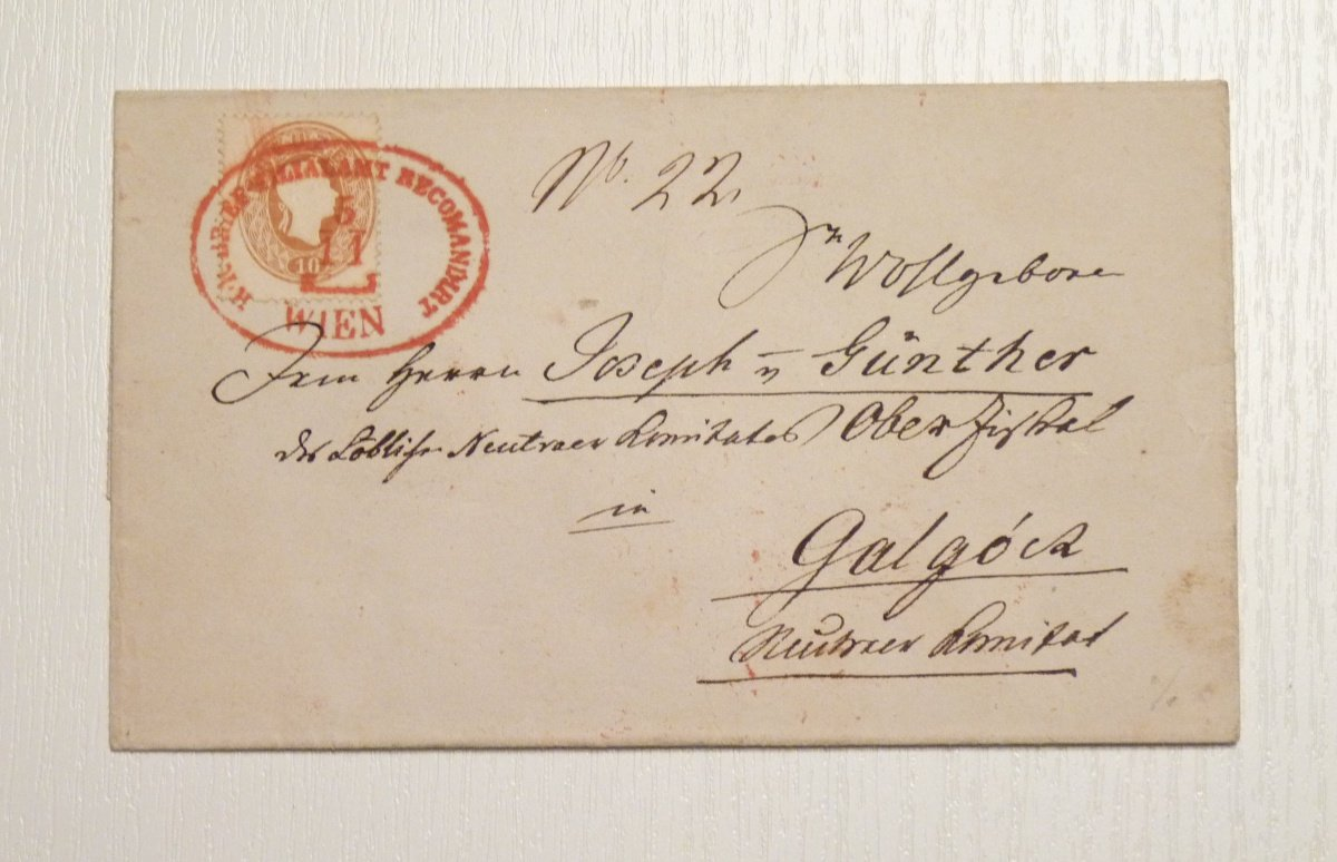 Certified mail, 2 times 10 Kr. red stamp Vienna