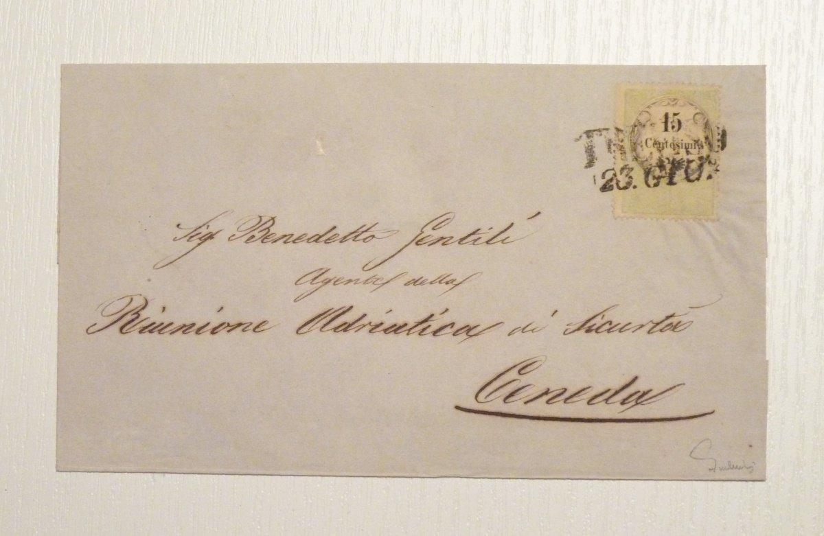 Dopis frankovaný 15 centy, razítko Treviso