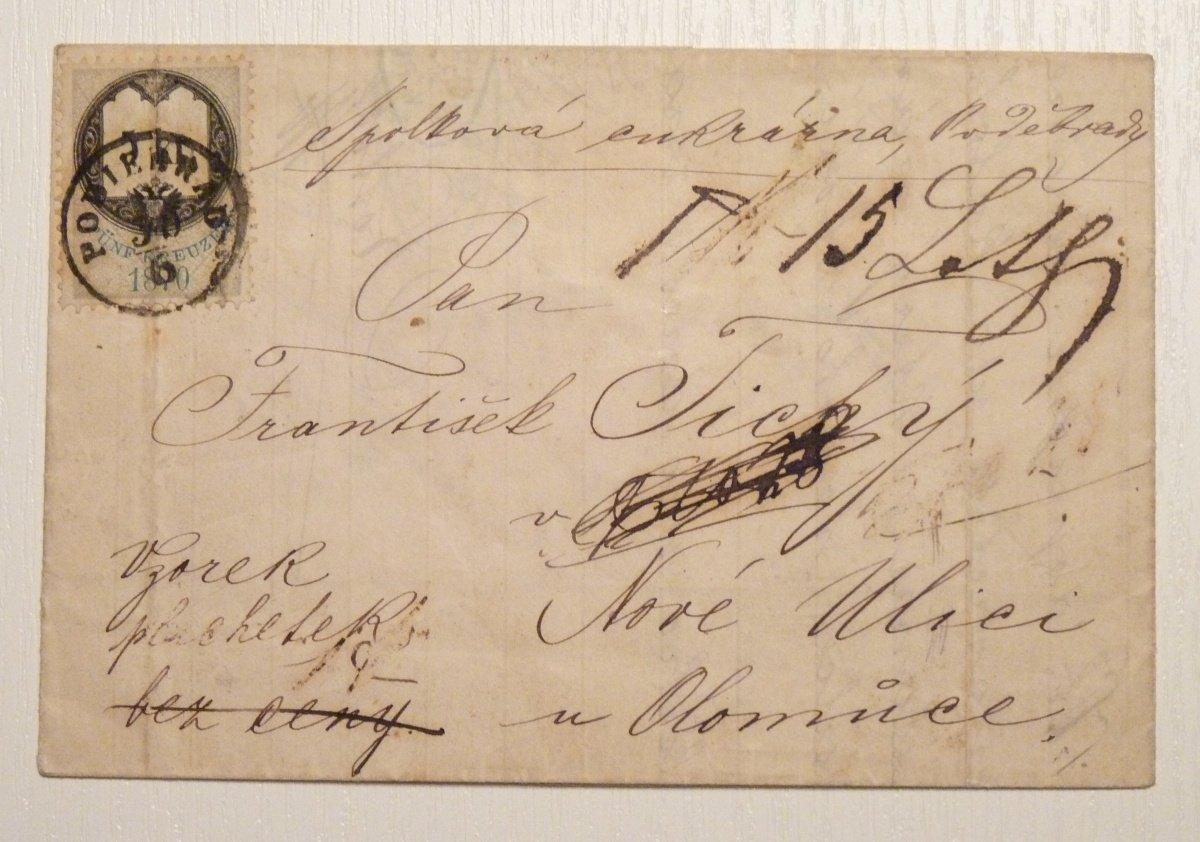 Nádražní dopis vyfrankovaný 5 Kr. kolkem- Poděbrady