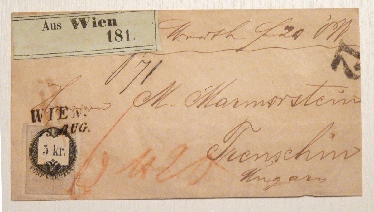 Nádražní dopis vyfrankovaný 5 Kr. kolkem- Vídeň