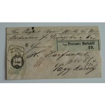 Railway letter with 5 Kr. fee stamp, stamp Mariahilf - Wien
