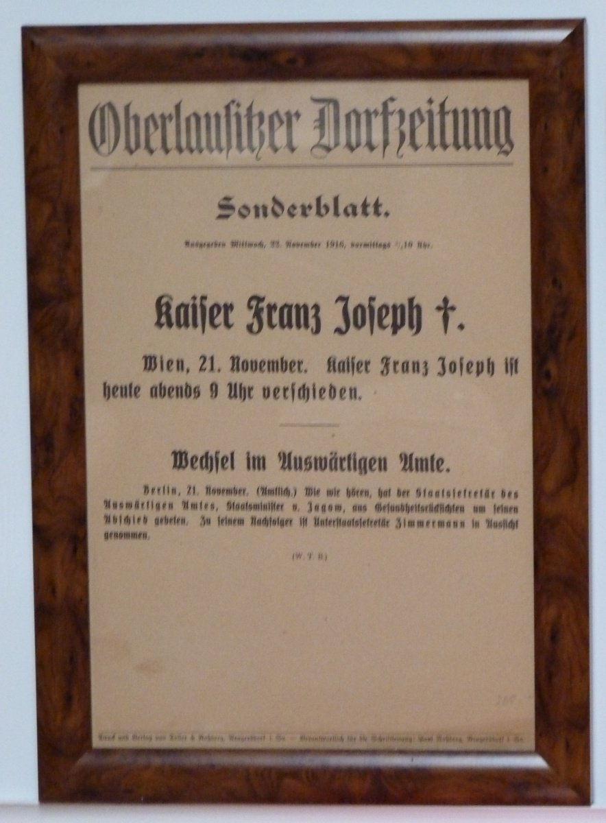 Franz Joseph's death certificate