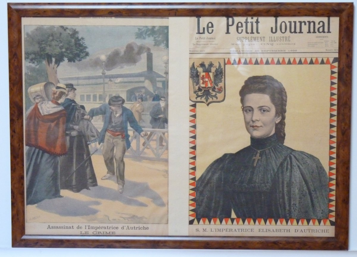 Sheet of French newspaper with portrait of Sissi