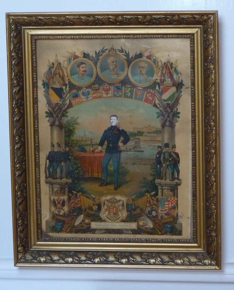 Painting with military representatives, symbols and coats of arms