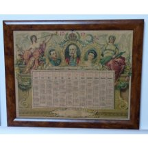 Calendar with portraits of F.J.I. , Zita and Karl