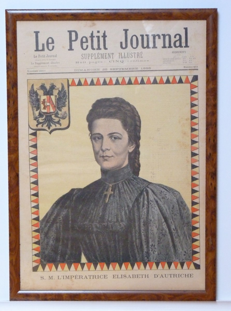 Empress Elisabeth in black suit and cross - complete newspapers