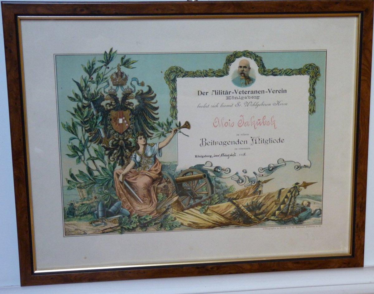 Memorial document with a portrait of Franz Joseph