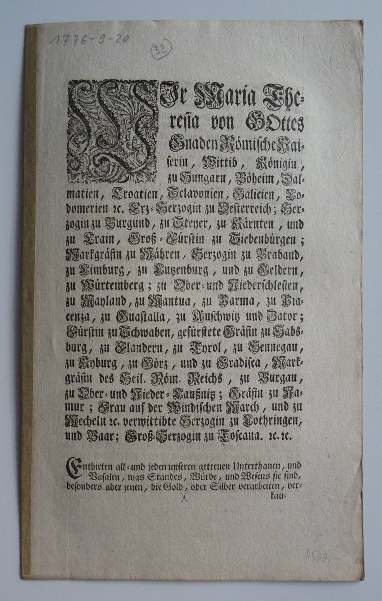 Maria Theresas circular - issue to hallmarks