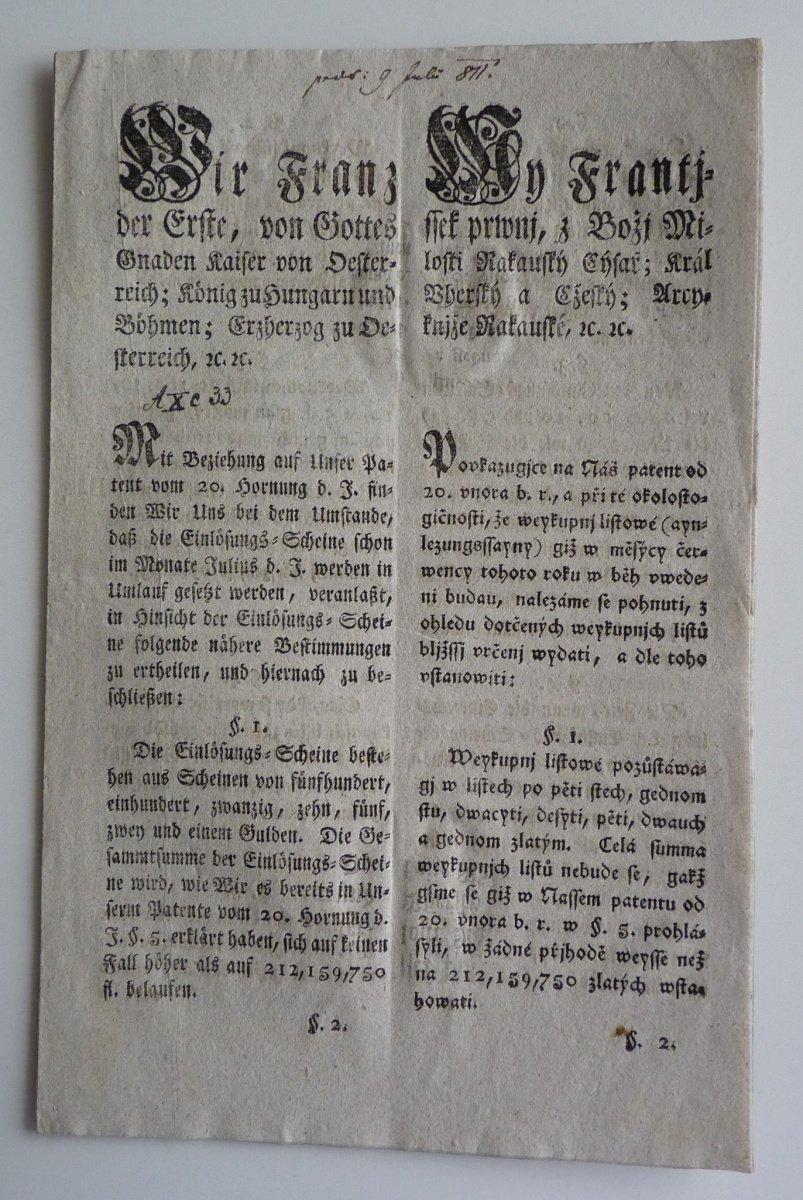 Cirkulář Františka I.- vydání 5, 10, 20, 100 guldenové bankovky, r. 1811