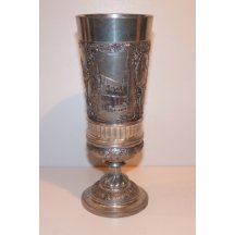 Silvered cup with picture of historical places in Vienna
