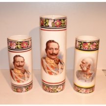Decorative vases with picture of emperors Franz Joseph and Wilhelm