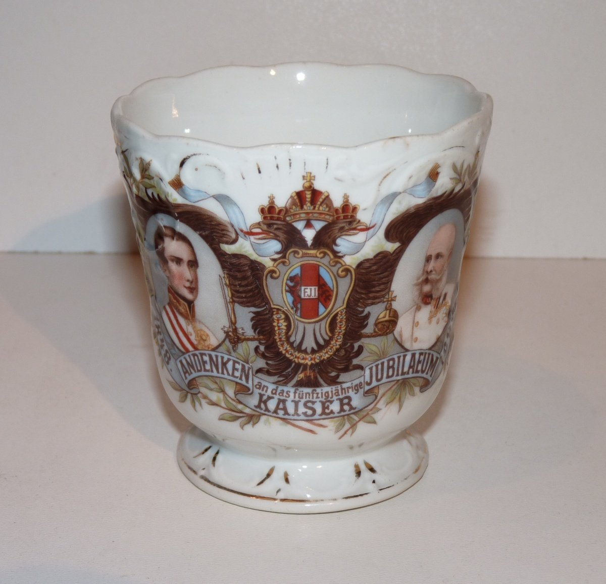 Jubilee cup with portait of Franz Joseph and with dual heads eagle