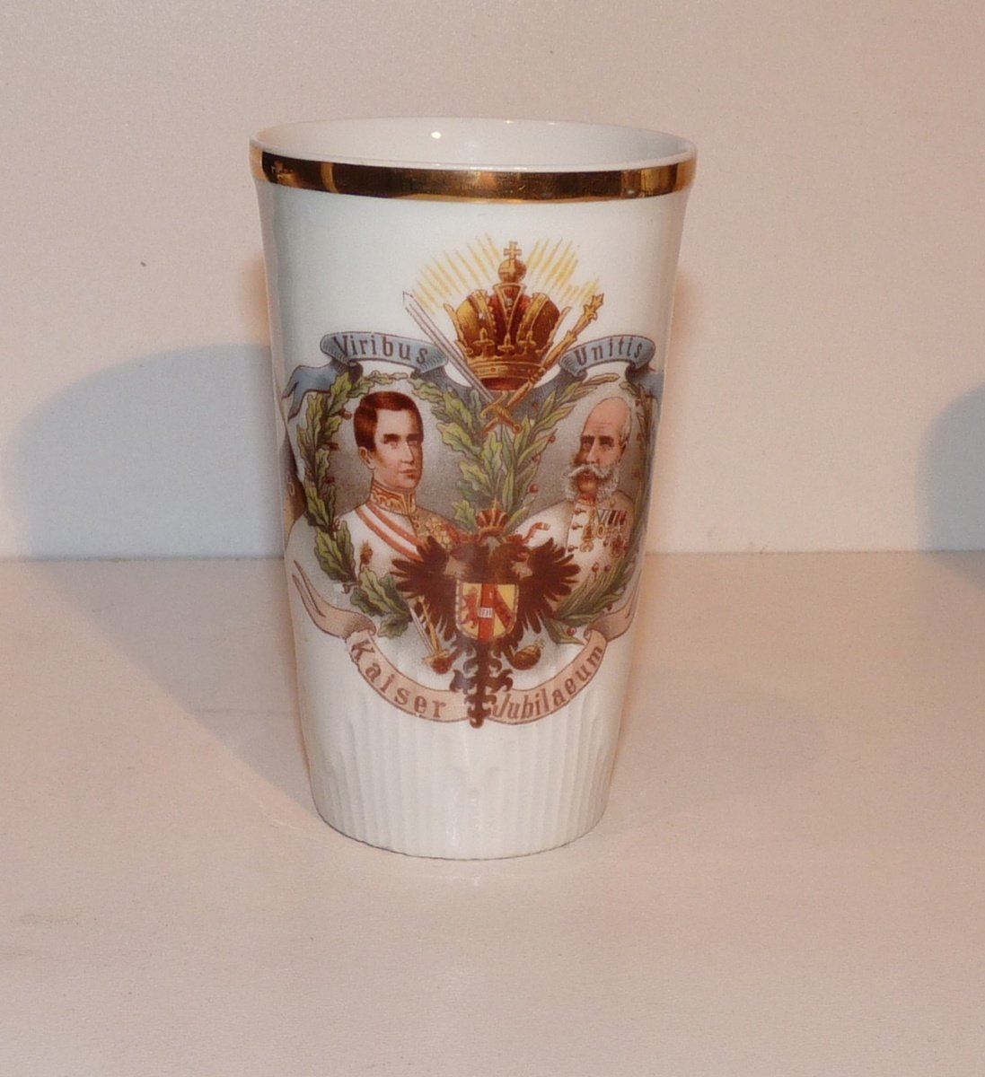 Narrow tall tumbler with Franz Joseph , to government jubilee