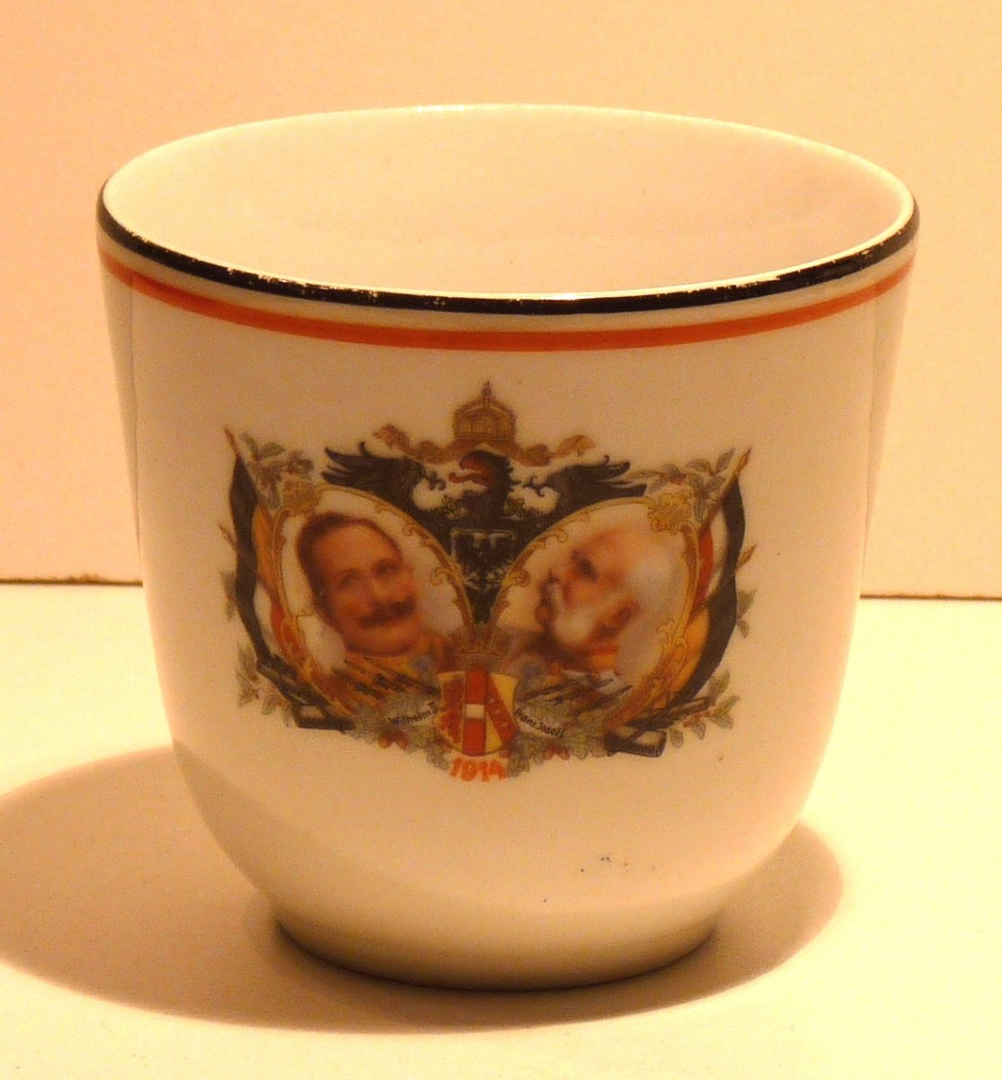 Cup with Franz Joseph and Wilhelm , with eagle and flags