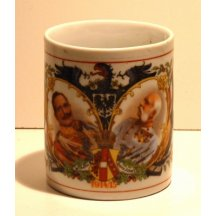 Cup with Franz Josef I. and Wilhelm II. , with austrian eagle