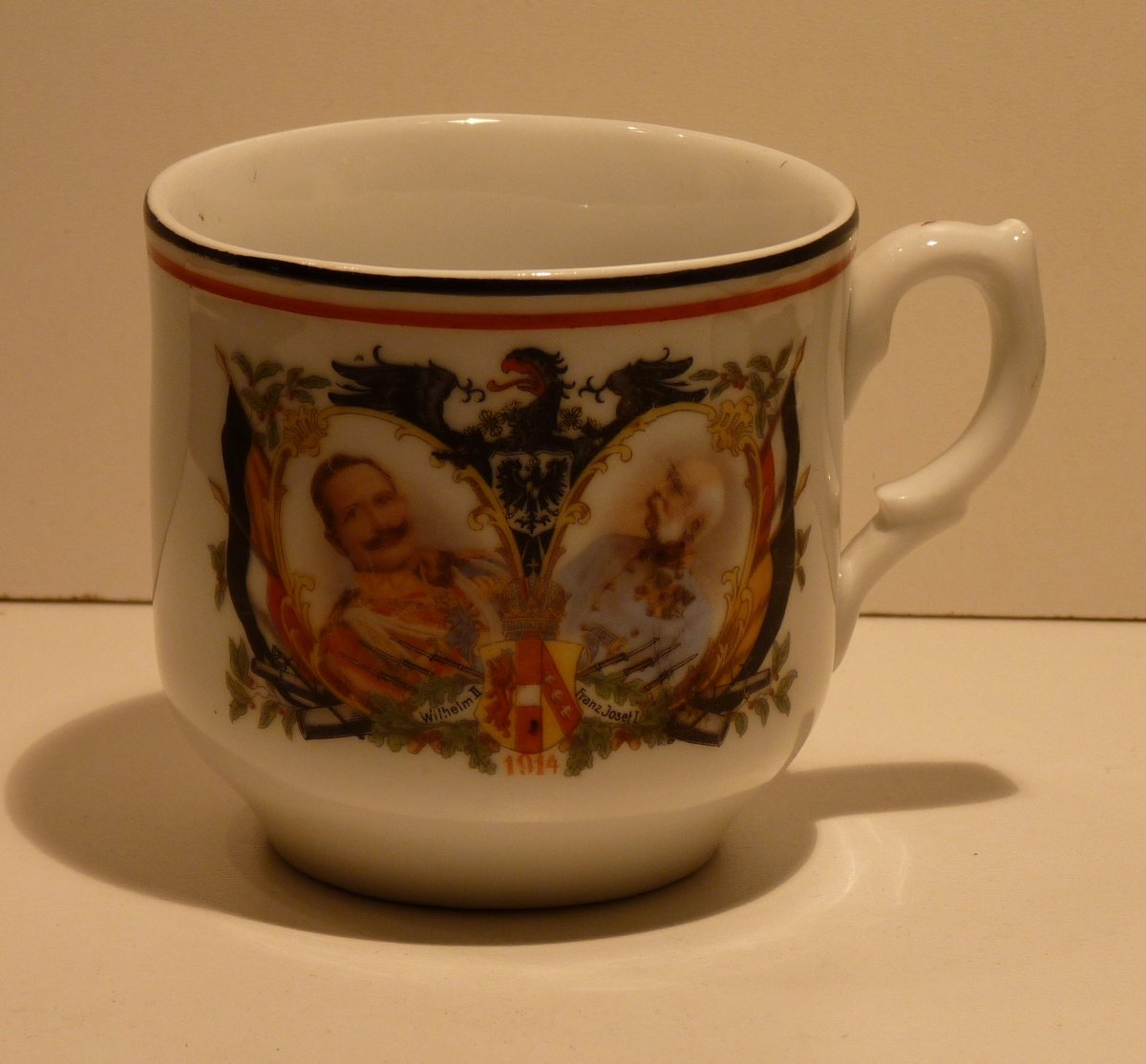 Cup with Franz Joseph and Wilhelm , eagle and flags