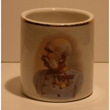 Franz Joseph in war uniform on cup