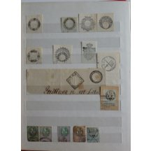Cuttings of printed fee stamps and cuttings of post stamps from deeds