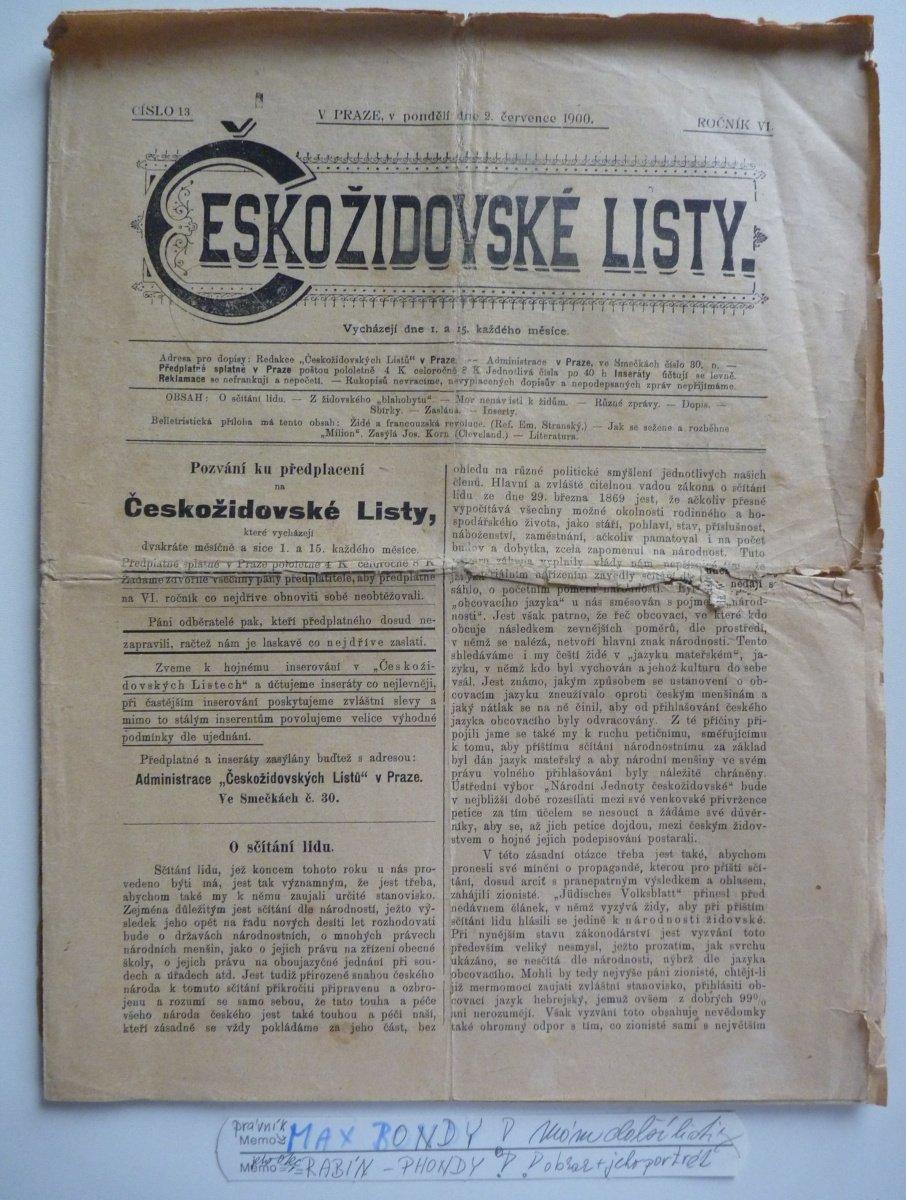 Českožidovské listy - komentář MAX BONDY