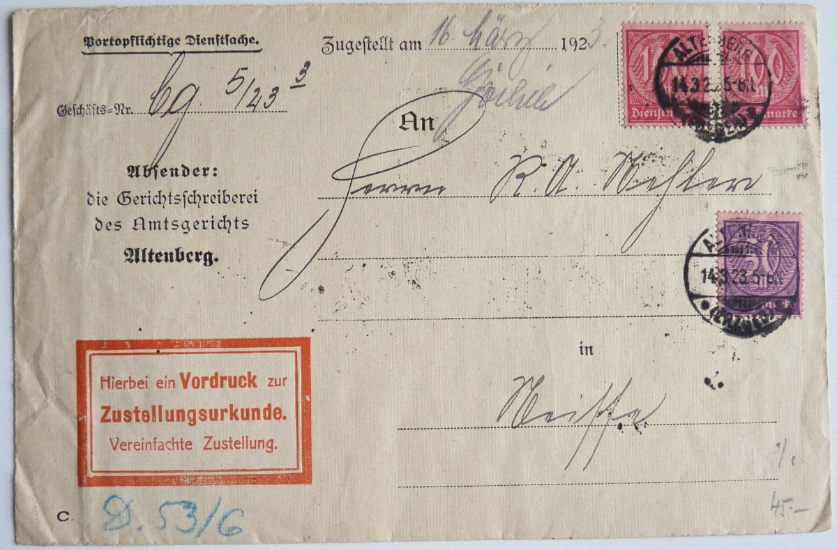 Letter from the German inflation, 15
