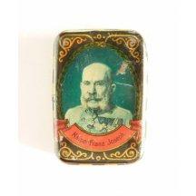 Plechová krabička s portrétem Františka Josefa