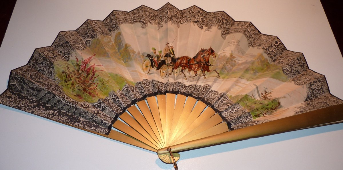 Fan with picture of Franz Joseph in a spring cart