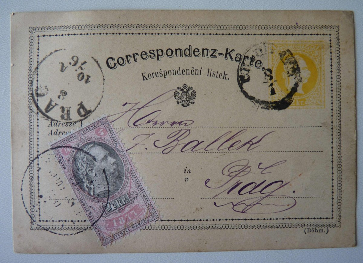 Letters with fee stamps and a collection of stamps